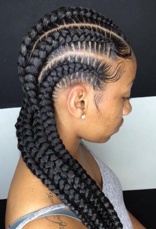 Jumbo Cornrows black girl hairstyle for school